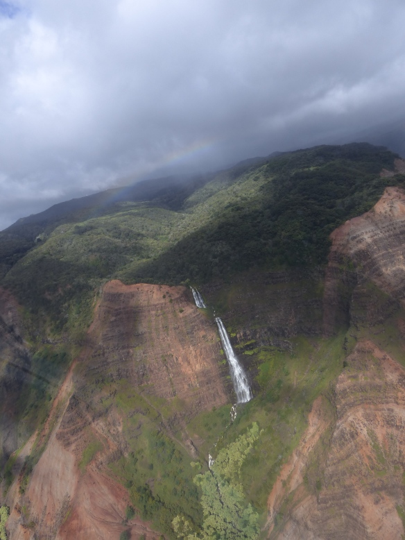 Waimea Canyon - you can just see the rainbow above the falls.